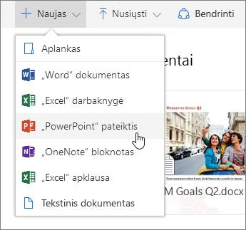 """Ekrano nuotrauka, rodanti, kaip sukurti failą arba aplanką """"OneDrive"""""""