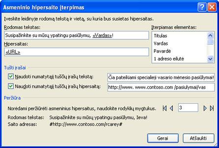 Dialogo lango Asmeninio hipersaito įterpimas paveikslėlis