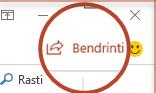"""Mygtukas bendrinti programoje """"PowerPoint 2016"""""""