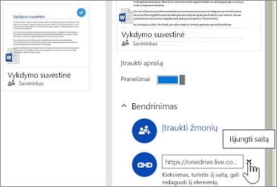 Saito išjungimo išsamios informacijos srityje, siekiant sustabdyti elementų bendrinimą, ekrano nuotrauka