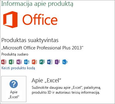 """Excel"" MSI diegimas"