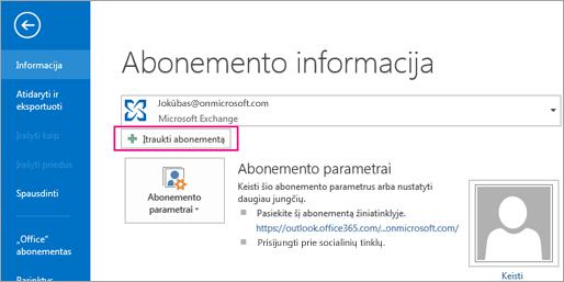 """Norėdami įtraukti """"Gmail"""" paskyrą į """"Outlook"""", spustelėkite mygtuką Įtraukti paskyrą"""
