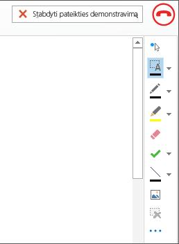 Susitikimo interaktyviosios lentos ekrano nuotrauka