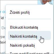 """Ekrano nuotrauka naikinimo kontakto parinktis programoje """"Skype"""" kontaktų kontekstinis meniu"""