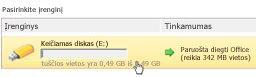 """""""Microsoft Office Starter"""" su technologija """"Pasiimkite su savimi"""" įrenginio tvarkytuvė"""