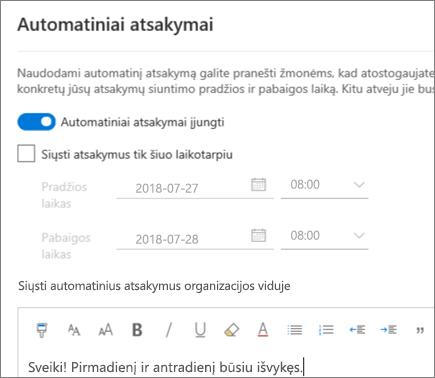 """Atsakymo """"išvykęs"""" kūrimas internetinėje """"Outlook"""""""