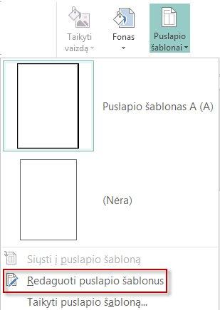 """Puslapių šablonų redagavimas """"Publisher 2013""""."""