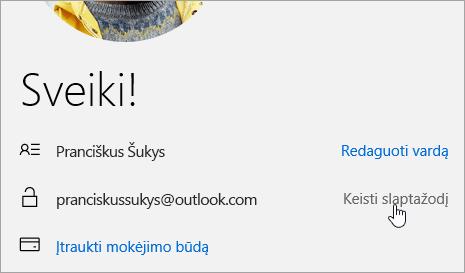 Ekrano nuotrauka mygtuką Keisti slaptažodį.