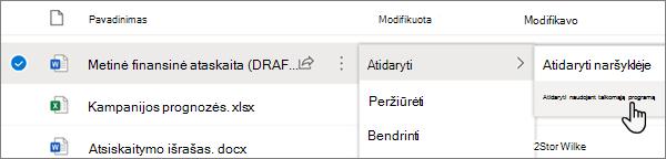 """""""OneDrive"""" portalo """"OneDrive"""" portalo """"Word"""" failo meniu parinktis atidaryti """"> atidaryti"""""""