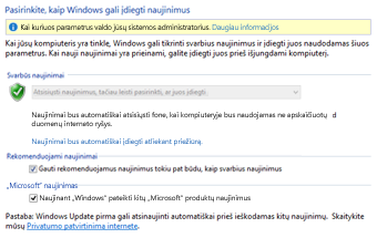"""Windows 8"" ""Windows Update"" parametrai valdymo skyde"