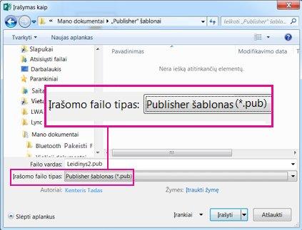 Publikacijos kaip šablono naudojimas, kad ją būtų galima naudoti pakartotinai.