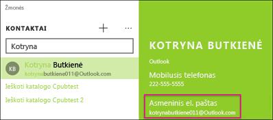 Kontaktas privalo turėti galiojantį el. pašto adresą