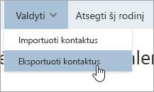 Parinkties Eksportuoti kontaktus, esančios meniu Valdymas, ekrano nuotrauka