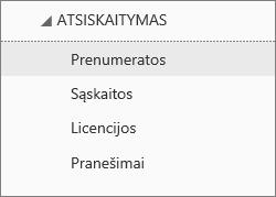 """Atsiskaitymo meniu, esančio """"Office 365"""" administravimo centre, kai pasirinkta Prenumeratos, ekrano kopija."""