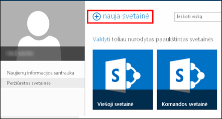 """""""SharePoint Online"""" puslapis Svetainės su mygtuku Nauja svetainė"""