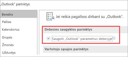 Rodyti Outlook parinktis