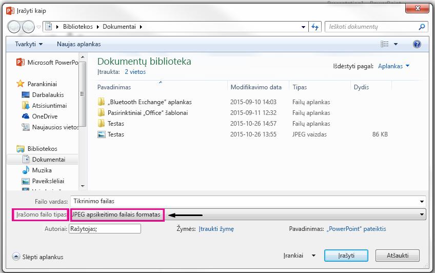 Dialogo lange Įrašyti kaip nurodoma, kokio tipo failą, kurį norite įrašyti kaip skaidrės.