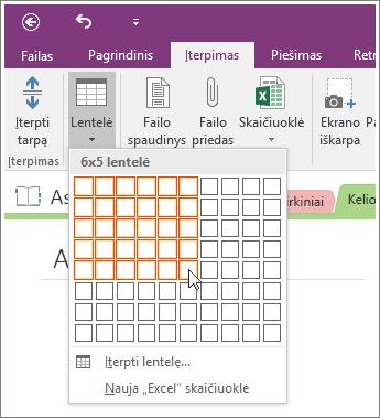 """Norėdami įtraukti lentelę programoje """"OneNote 2016"""" ekrano nuotrauka"""