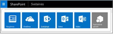 """Hibridinių taikomųjų programų vykdyklę """"SharePoint Server"""" svetainėje"""
