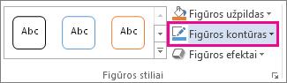 Komanda Figūros kontūras skirtuke Piešimo įrankių formatas