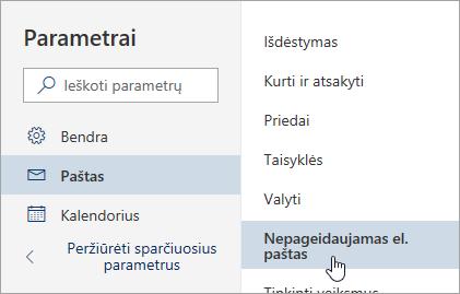 Ekrano nuotrauka, kurioje pateikiamas parametrų meniu su pasirinktais nepageidaujamais el. laiškais