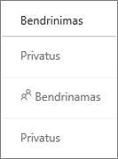 """""""OneDrive"""" verslui bendrinimo būsenos rodinys"""