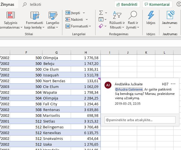 """Komentaro įtraukimo """"Excel"""" ekrano kopija"""