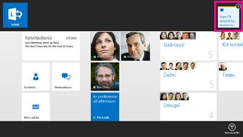 """""""Lync"""" pagrindinio ekrano, kuriame paryškintos taikomosios programos komandos, esančios naujo pranešimo viršutinėje juostoje, ekrano nuotrauka"""