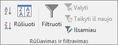 Grupė Rūšiavimas ir filtravimas skirtuke Duomenys