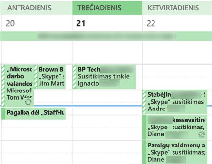Koks jūsų kalendorius atrodys vartotojui, kai bendrinate ją su ribota informacija.