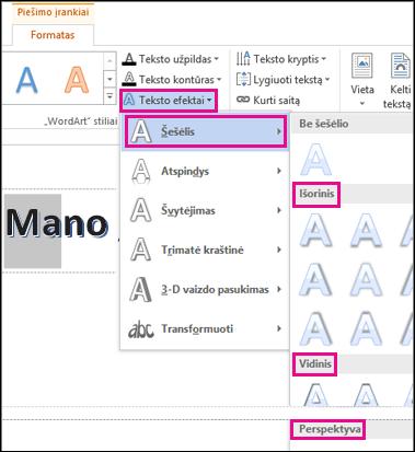 Šešėlio parinktys, rastos skirtuke Piešimo įrankių formatas spustelėjus Teksto efektai ir – Šešėlis