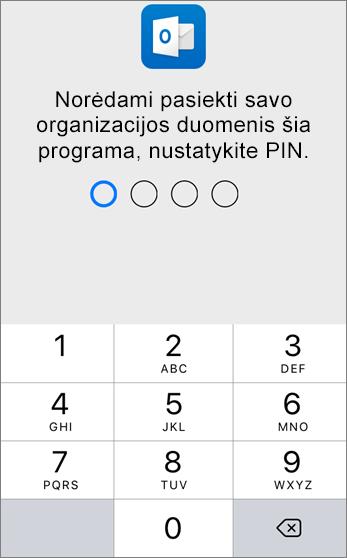 PIN nustatymas organizacijos duomenims pasiekti