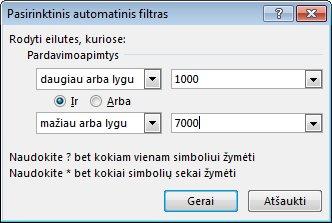 Pasirinktinio automatinio filtro dialogo langas