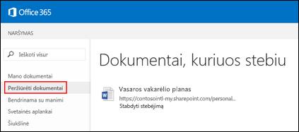 """""""OneDrive"""" verslui dokumentų, kuriuos stebite """"Office 365"""", ekrano kopija."""