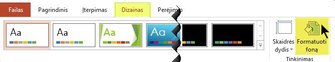 """Mygtukas Formatuoti foną yra """"PowerPoint"""" juostelės skirtuke Dizainas"""