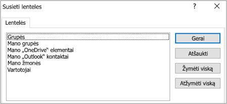 Iš anksto nustatytų filtrų sąrašas