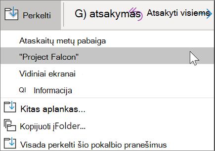 """Laiško perkėlimas į aplanką programoje """"Outlook"""""""