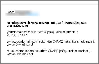 Wix.com naudokite šiuos DNS įrašo parametrus