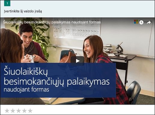 """""""YouTube"""" vaizdo įrašų langas Microsoft Forms įterpimas"""