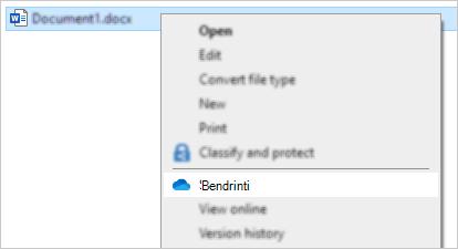 """""""Explorer"""" dešiniojo pelės mygtuko meniu, kuriame rodoma """"OneDrive"""" bendrinimo komanda"""