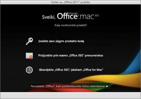 """""""Office for Mac 2011"""" pasveikinimo puslapio ekrano nuotrauka"""
