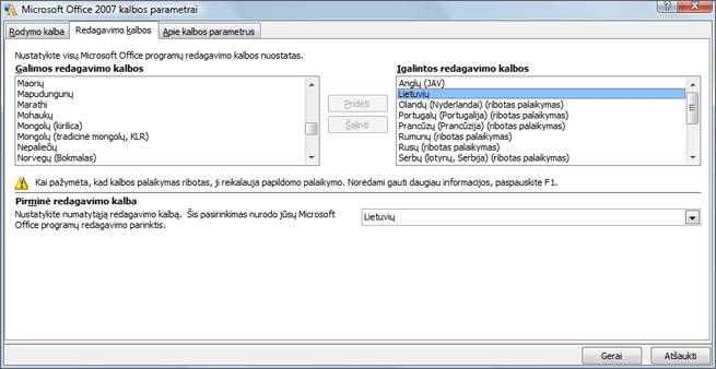 """Office 2007"" kalbos parametrai"