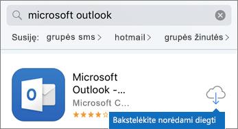 """Bakstelėkite debesies piktogramą, kad įdiegtumėte """"Outlook"""""""