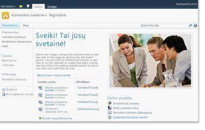 """""""SharePoint"""" darbo grupės svetainė"""