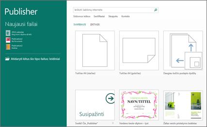 """Ekrano nuotrauka, vaizduojanti šablonus """"Publisher"""" pradžios ekrane."""