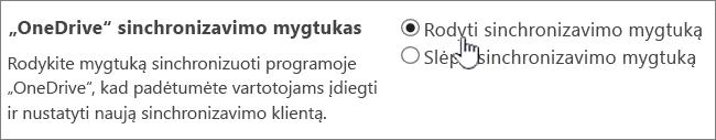 """""""OneDrive"""" sinchronizavimo mygtukas administravimo parametrai"""