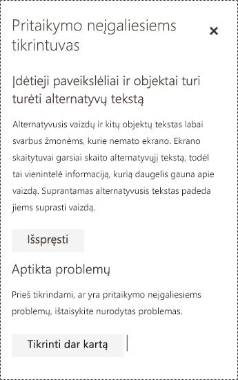 """Peržiūrėkite el. pašto pritaikymo neįgaliesiems klausimus internetinėje """"Outlook""""."""