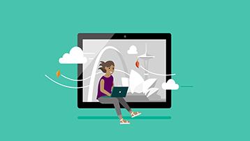Mergina su nešiojamuoju kompiuteriu ir debesimis aplink