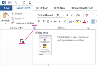 """""""Office"""" mainų srities atidarymas programoje """"Word 2013"""""""
