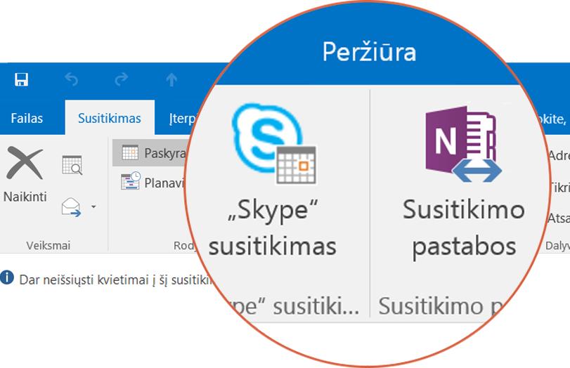 """Bendradarbiavimas naudojant """"Skype"""" ir """"OneNote"""""""